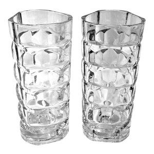 """2 Vintage French Crystal Glass Vases """"Chantelle"""""""
